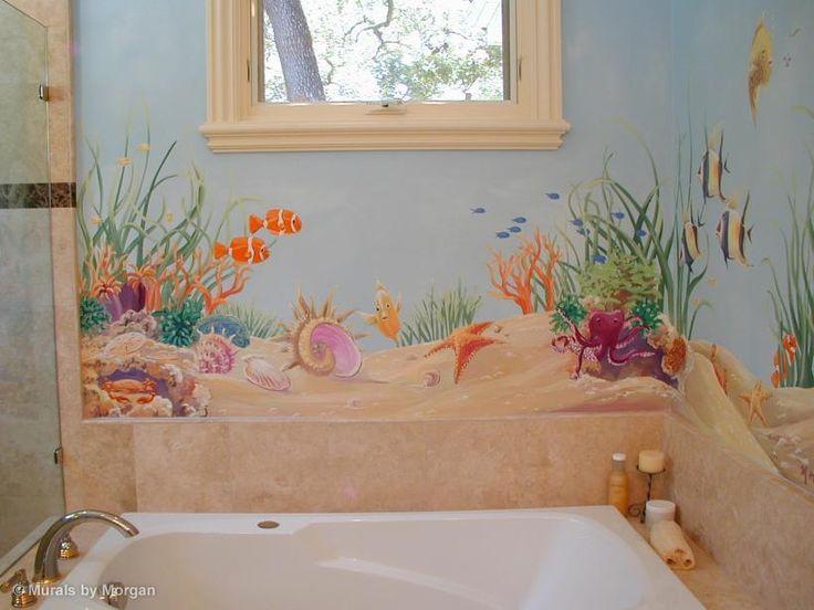 bathroom murals   Ocean Floor Bathroom Mural - Close-up