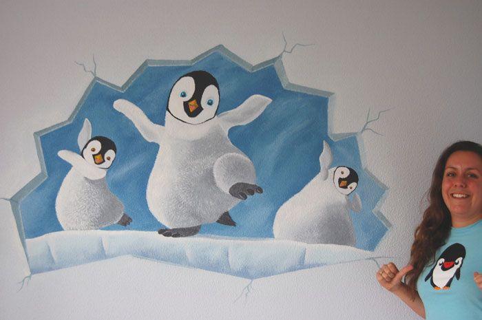 Pinguïn muurschildering in babykamer