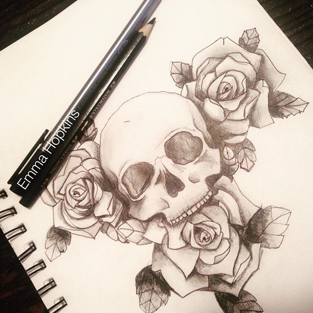 Skull and Roses drawing - By Emma Hopkins