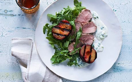 Grilled Pork Tenderloin and Plums with Creamy Goat's Cheese Sauce Recipe by Food Network Kitchens