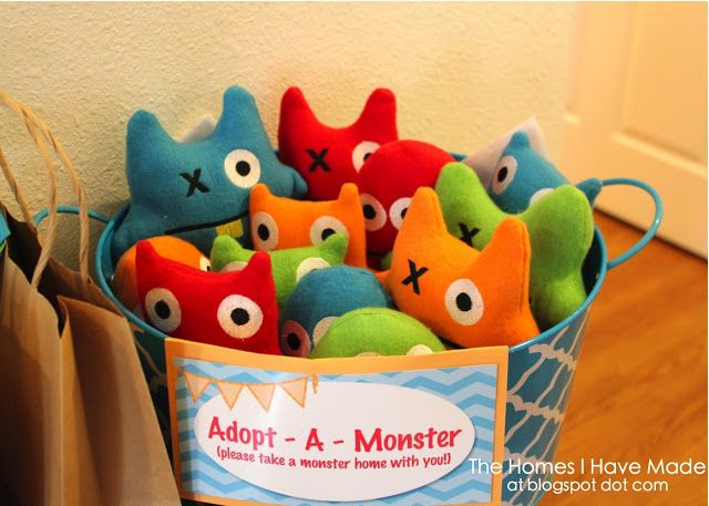 "From thehomesihavemade.com (blog): ""Among all the lovely compliments I have received on Henry's Monster of a First Birthday Party, most were about the adorable Adopt-a-Monster stuffies we provided as party favors!"" - These are very easy to make (see instructions on website)"