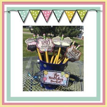 The Birthday Bucket: Birthday Pencil Toppers & Birthday Ce