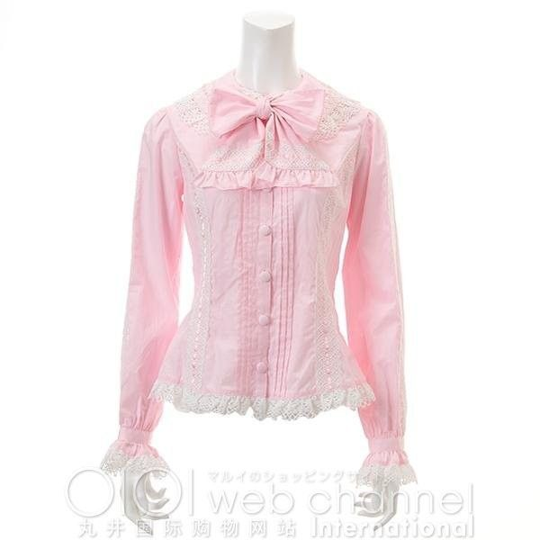 metamorphose Lacey Blouse ($85) ❤ liked on Polyvore featuring tops, blouses, lolita, shirts, women, final salewomen'stops, pink lace top, pink top, lace blouse and ribbon shirt