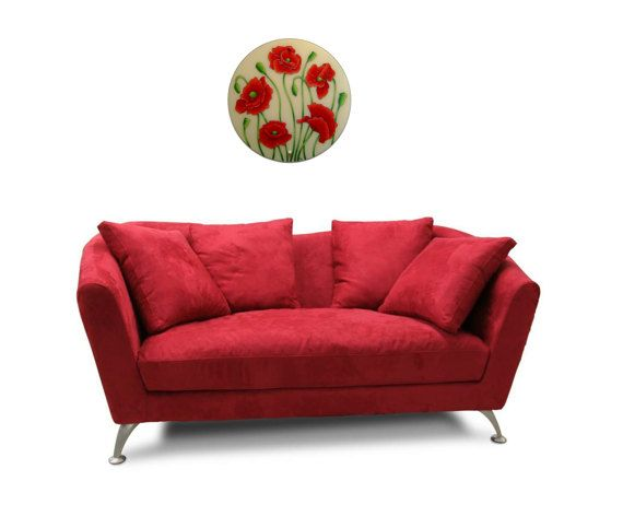 Poppy Wall Lamp, Large wall lamp, Red wall decor, Hand Painted wall lamp, Glass wall lamp