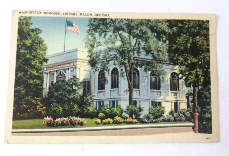 Washington memorial library macon ga vintage postcard 1924