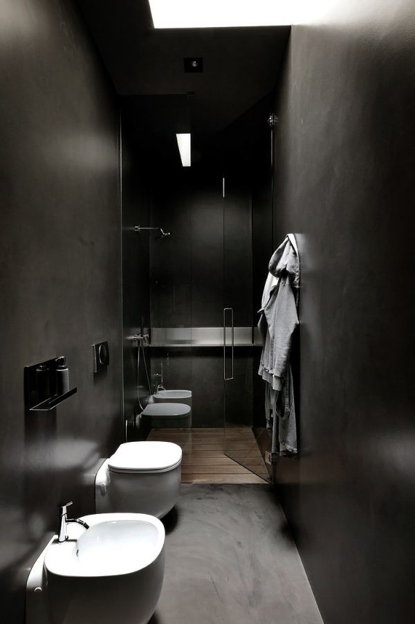 love the dark walls. skylight would be great to let day light in during the day. small, recess or pin lights to illuminate at night. perfect for a masculine bathroom.