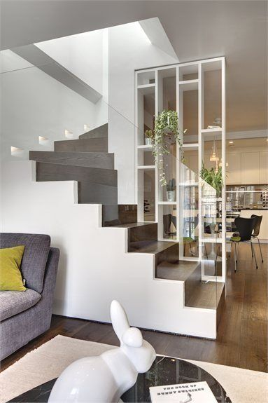 Kitchen partition design ideas stylish mews house in village dream home contemporary stairs modern staircase and Staircase Railing Design, Staircase Wall Decor, Stair Decor, Railing Ideas, Stair Banister, Staircase Ideas, Staircase Walls, White Staircase, Stair Design