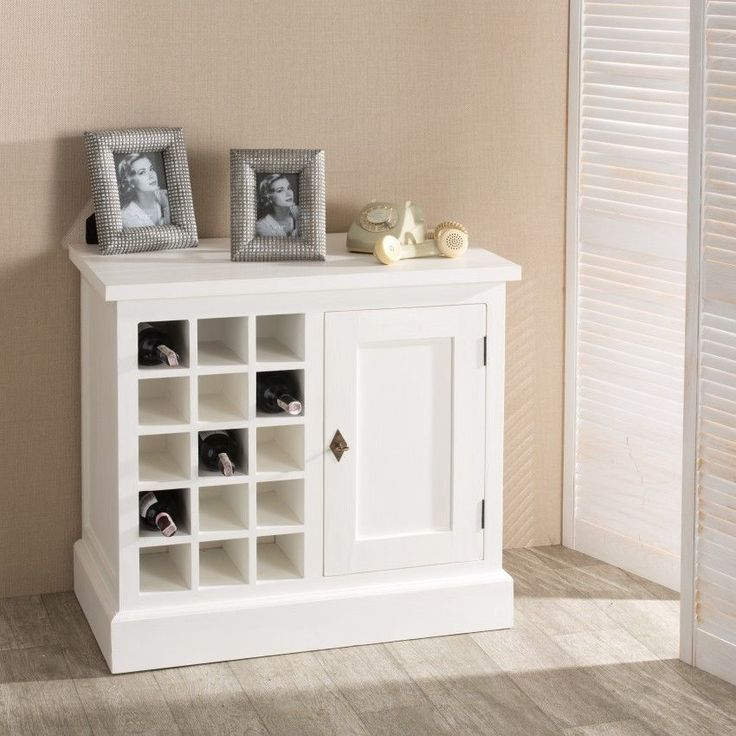 Szafka na wino Brighton 85cm white, 85x48x80cm - Dekoria #white #meble #biale #furniture #komoda #interior #idea #design