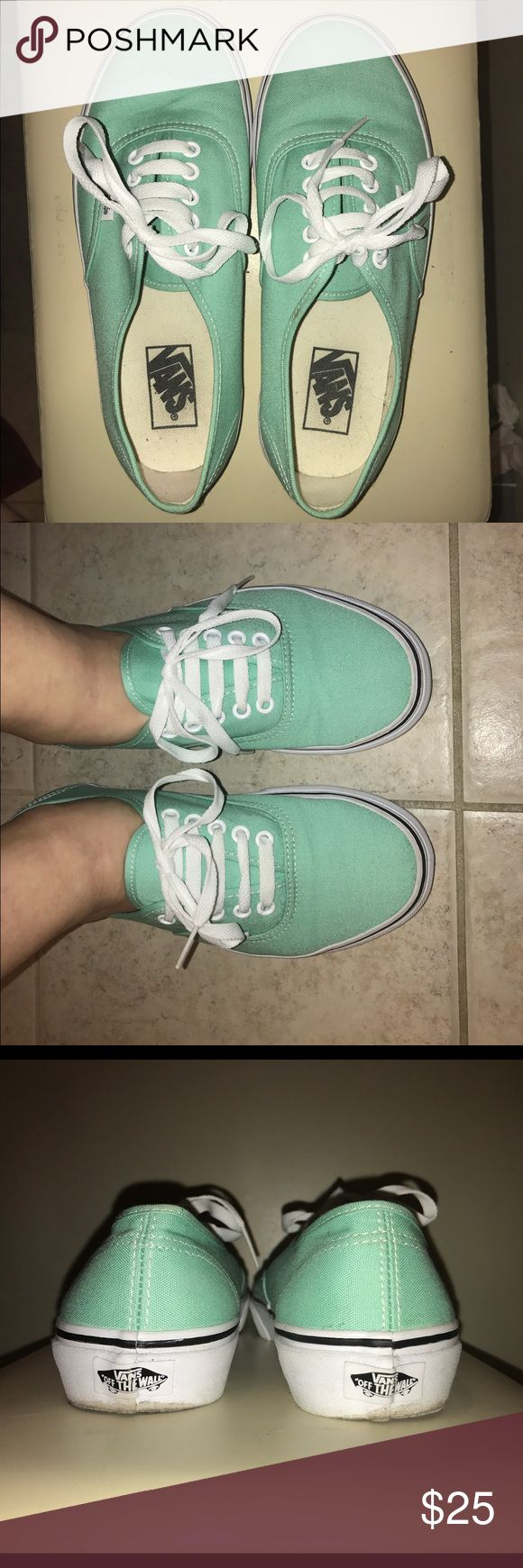 Mint Authentic Vans Fresh Mint Vans! Only worn a few times! Great for wide feet! A little scuffed in the back, but the sides are still sparkling white! Vans Shoes Sneakers