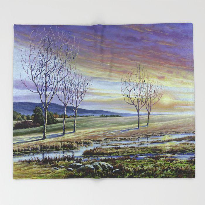Sunset on the Farm Throw Blanket
