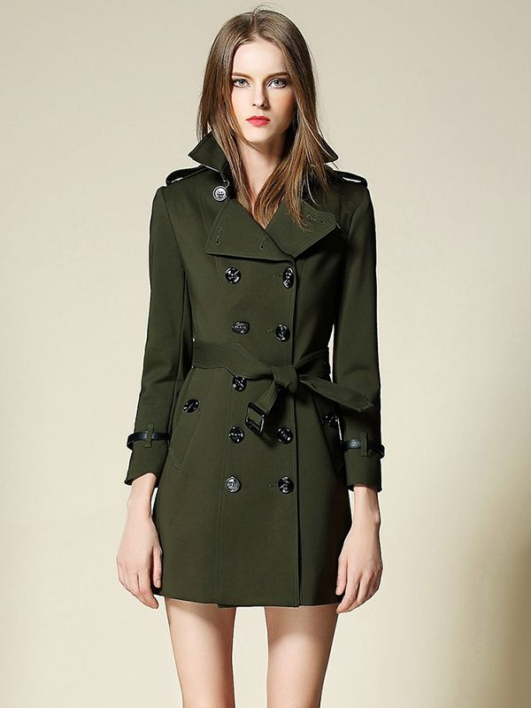 Army Green Double Breasted Belted Waist Trench Coat