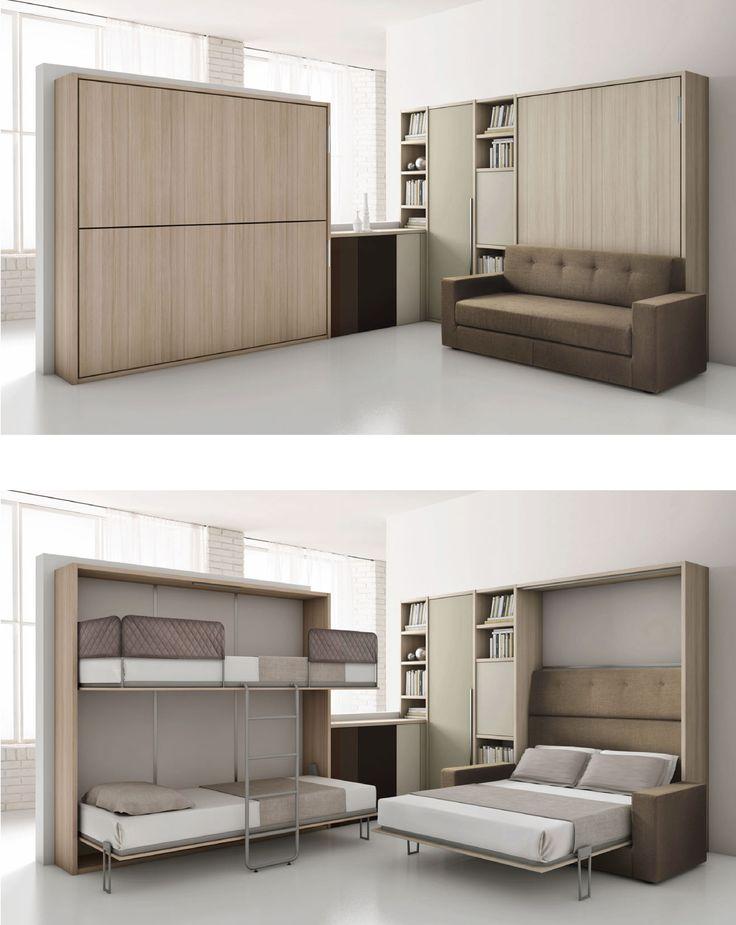 Quelques solutions pour aménager vos petits espaces !  Lit escamotable et lit rabattable superposé.
