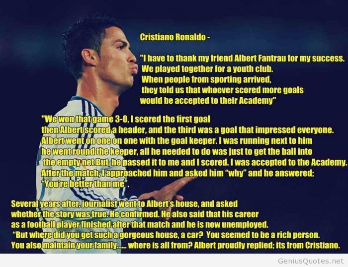 This gave me chills. There is a reason why I love Cristiano and it's not just because of how sexy he is!