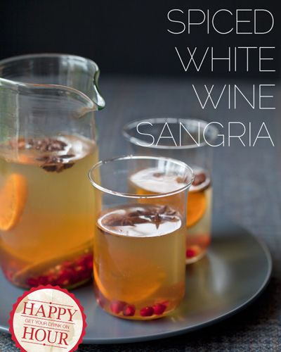 Spiced White Wine Sangria with Pomegranate Seeds recipe from Spoon Fork Bacon