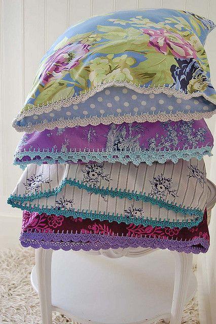 Inspiration pillowcase stack... by rose hip..., via Flickr  Homemade, edging, trim, border, crochet hook,, granny square, DIY #crochet, wrap, sheet, blanket, lap, cover, covering,  afghan, carpet, cloak, coat, coating, comforter, covering, coverlet, envelope, film, fleece, layer, mat, puff, quilt, rug, sheath, sheet, throw, wrapper