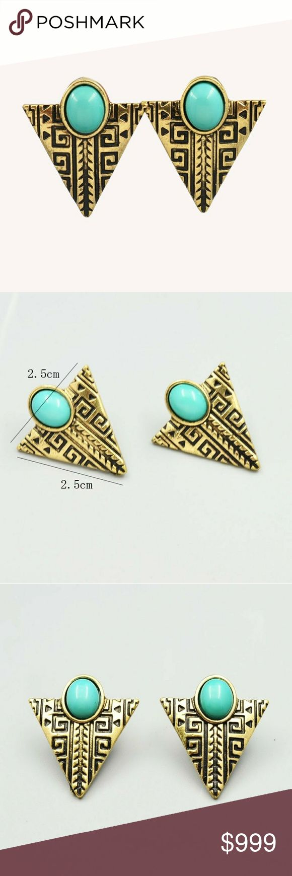 "COMING SOON!! Vintage Gold Boho Arrow Earrings Coming Soon!! (Price available upon arrival).  Brand new in original packaging.  Vintage appeal gold filled arrow triangle shape dangle drop earrings.  Material: Antique gold plated metal, sky blue stone & resin.  Tribal boho chic jewels that are lightweight, w/ push-backs.  ""Like"" to be notified of arrival!  Jewelry Earrings"