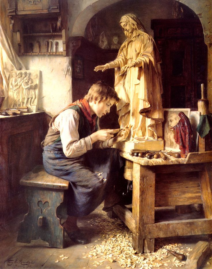 A young carpenter performs the final touches of carving a wooden statue of the Virgin Mary. Artwork by T. Rosenthal.