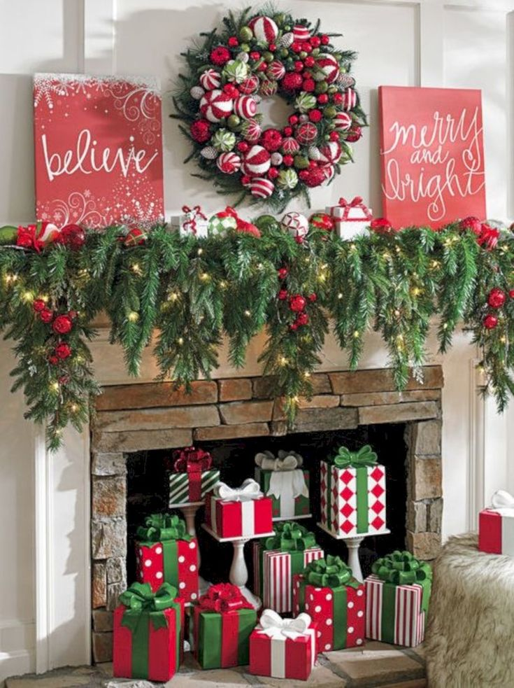 39 Simple Fireplace Christmas Decoration Ideas 714