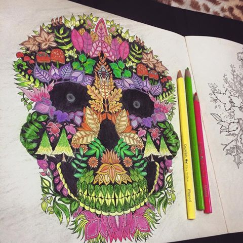 Floresta Encantada Caveira Johanna Basford Coloring BooksSkullColour