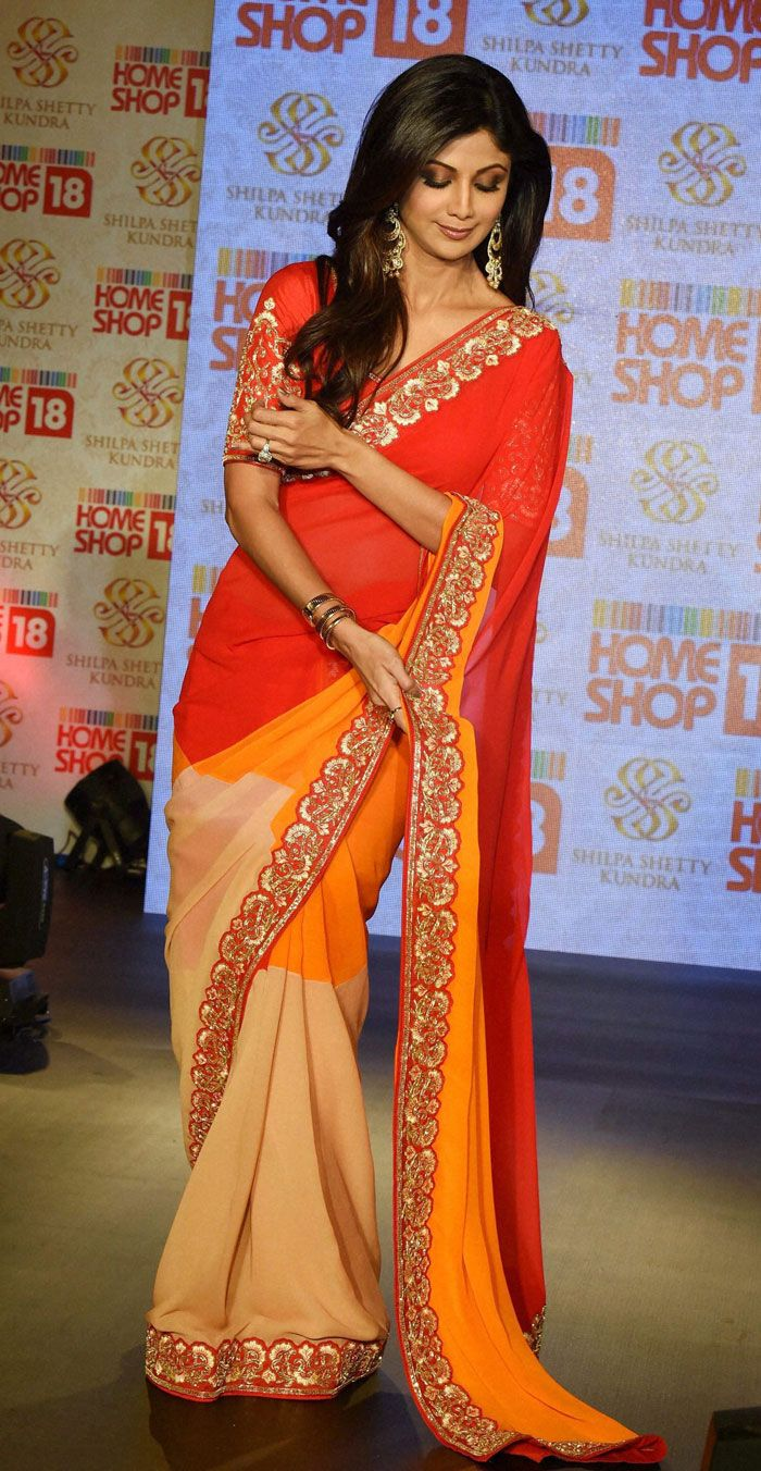 Shilpa Shetty showed off her slender figure during the launch her sari collection with Home Shop 18.