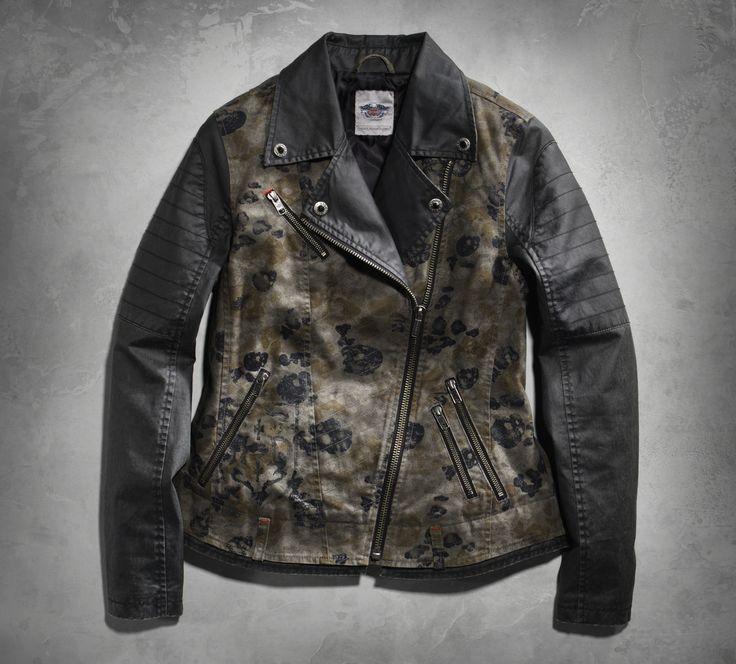 Harley davidson camo leather jacket