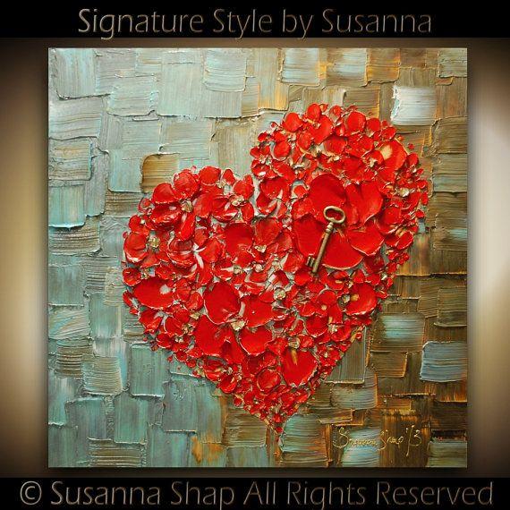 Texture épaisse abstrait fleurs Art rouge coeur par ModernHouseArt