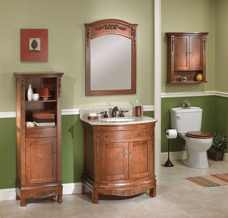 Inspired by the region that bears its name, the Tuscany Collection by Foremost (available at Central) brings the flavor of the European countryside to the bath. This pairing of a walnut finished vanity and mirror features all the elements of style and distinction - decorative hand-carved accents, curved panel doors, furniture-style feet and recessed panels topped with an arched mirror. Turn to Tuscany for an air of casual European elegance. #Tuscan #bathroom #Tuscany