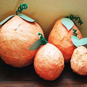 Festive Fall Decor You\'ll Love: Papier-M?ch? Pumpkins (via Parents.com)
