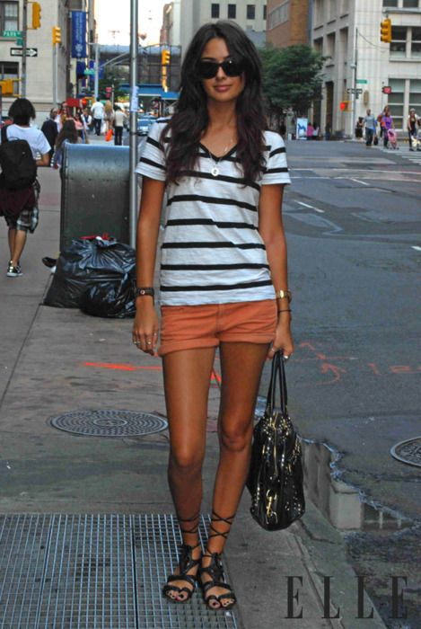 Easy peasy. Simple striped tee with burnt orange shorts and gladiator sandals.