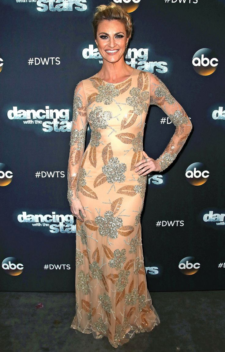 ERIN ANDREWS in a long sleeved nude gown with crystal floral embroidery to the taping of Dancing with the Stars' episode four.