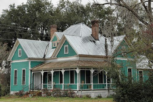 Valdosta GA Lowndes County Folk Victorian Architecture House Turqoise Green Tin Roof USA Picture Photo Copyright Brian Brown Vanishing South Georgia