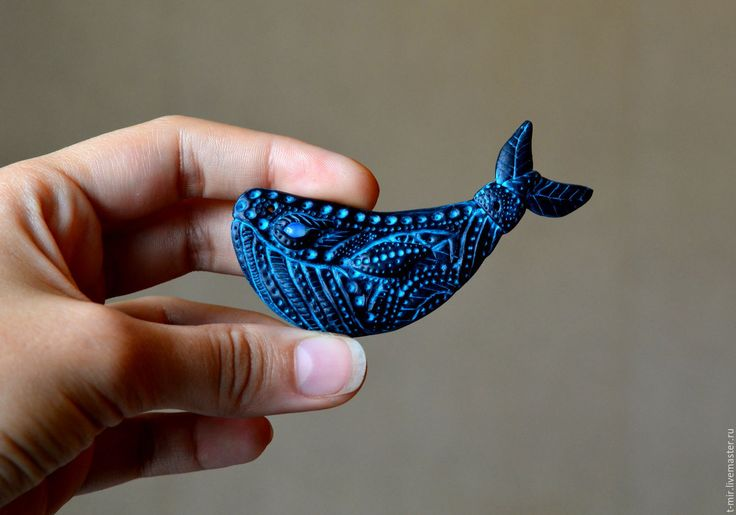 "Whale polymer clay brooch. Black turquoise whale. polymer clay jewelry. Брошь ""Кит"" - черный, бирюзовый. Whale polymer clay"