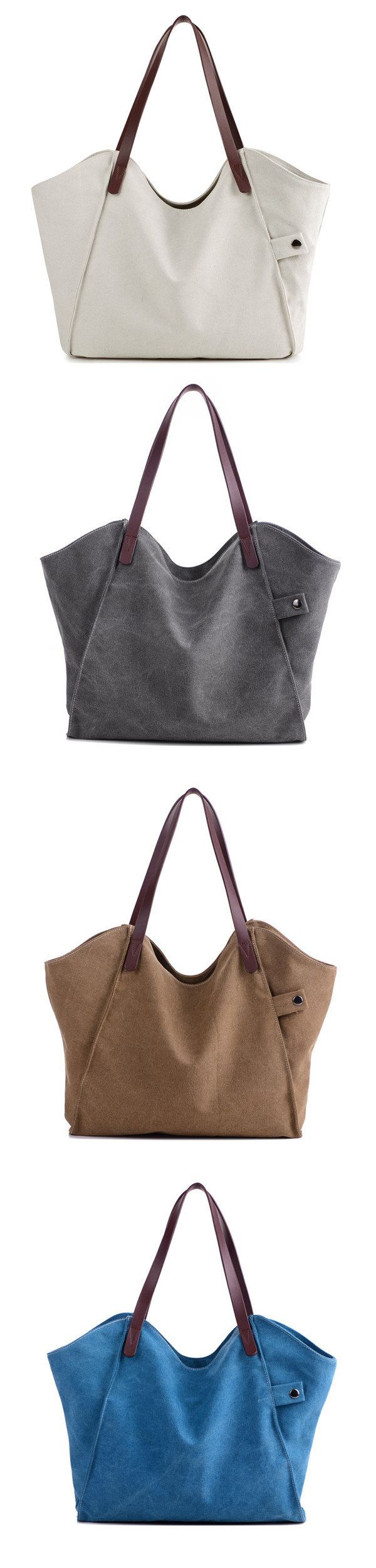 Casual Durable Thicker Canvas Handbag Light Casual Large Capacity Shoulder Bag For Women