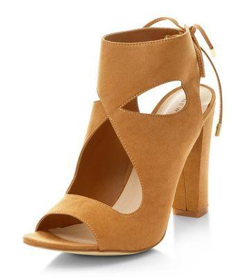 Chaussures taupe découpées à talon bloc et lien à nouer à l'arrière