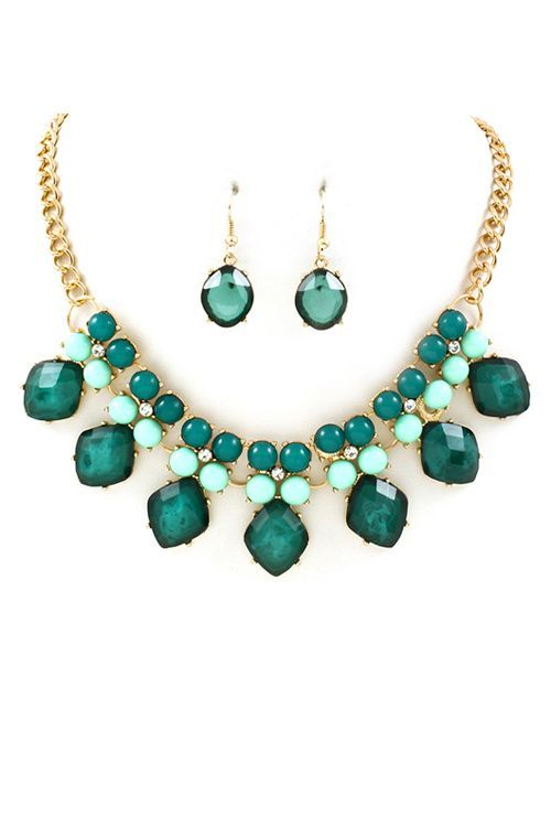 Mint and emerald jewellery