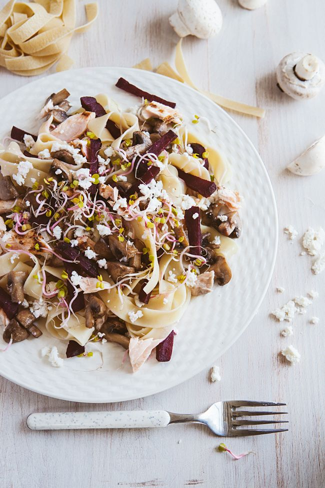 Pasta with salmon and grilled beet.