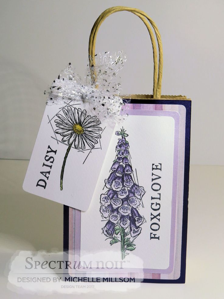 Gift Bag and Gift Tag. Designed by Michelle Millsom Sheena Douglass Stamp - Foxglove and Daisy. Colour Tint Pencils - All. Maize, Rust, Armory Grey, Leaf Green, Dusky Lilac, Cool Pewter, Grass Green.