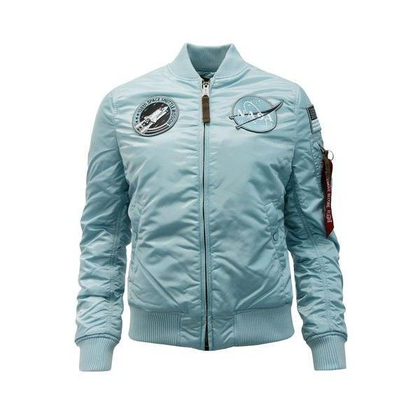 ALPHA INDSUTRIES MA1 VF NASA Women's Retro Bomber Jacket Air Blue (€25) ❤ liked on Polyvore featuring outerwear, jackets, retro bomber jacket, bomber jackets, blue jackets, patch bomber jacket and patch jacket