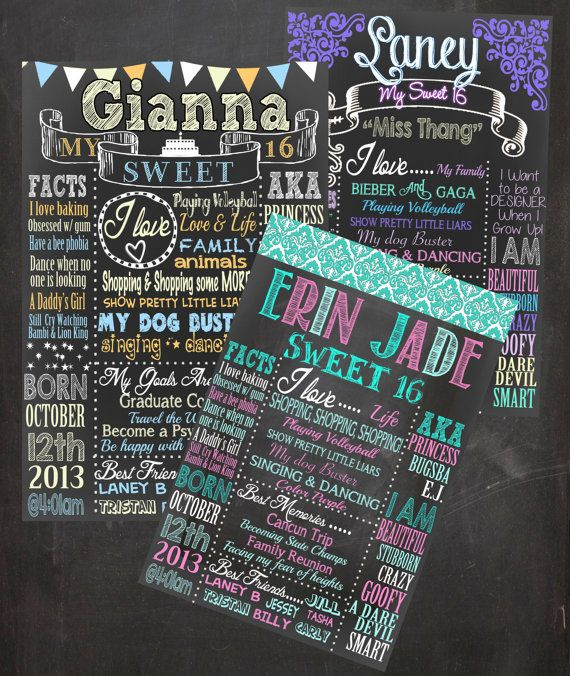 sweet 16 birthday board poster custom for any age gender color