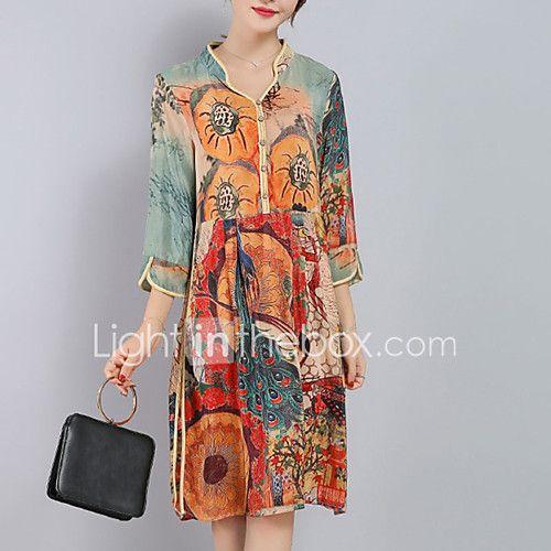 Women's Plus Size Going out Sophisticated Loose Dress,Print Split V Neck Knee-length ¾ Sleeve Silk Polyester Orange Spring Summer Mid Rise 2017 - $13.99