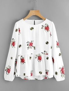 Top con bordado de flor-Spanish SheIn(Sheinside)