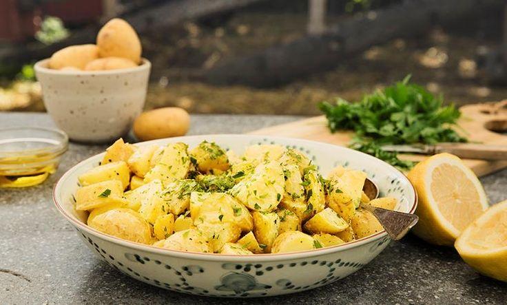 Denne potetsalaten er helt uten rømme og majones, men i stedet en frisk dressing av sennep, sitronsaft og olivenolje. Potetsalaten er perfekt til grillmat!