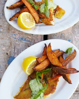 David Loftus pouting fish fingers, sweet potato chips & cheat's basil mayoSweet Potato Chips, Basil Mayo, Sweets Potatoes Chips, Pout Fish, Jamieoliver, Cheat Basil, Fish Fingers, Jamie Oliver, Fish Recipe