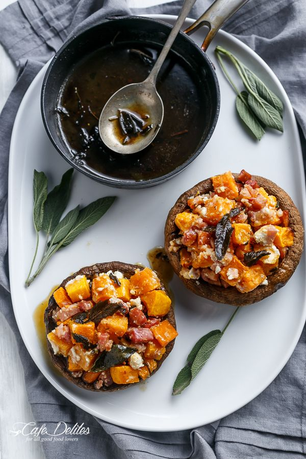 Pumpkin and Bacon Stuffed Portobellos with Browned Butter Sage | http ...
