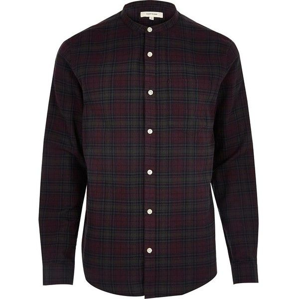 River Island Purple casual check grandad shirt (£25) ❤ liked on Polyvore featuring men's fashion, men's clothing, men's shirts, men's casual shirts, shirts, mens purple shirt, mens long sleeve shirts, mens grandad collar shirt, mens long sleeve casual shirts and mens longsleeve shirts