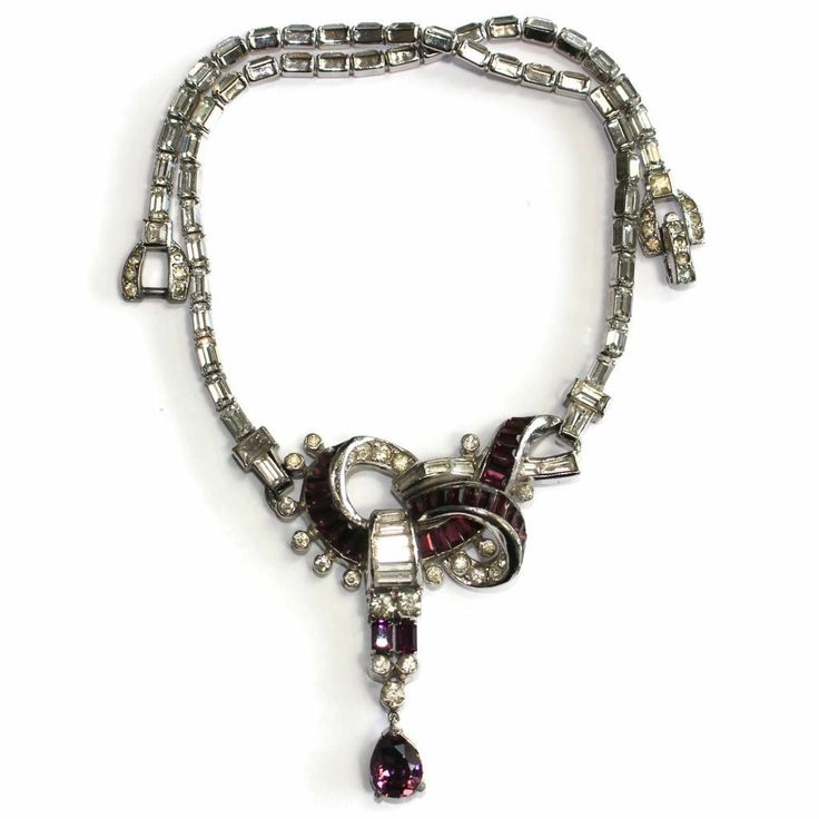 #1796 Mazer Necklace Rhinestone with Amethyst Drop Exclusively at Lee Caplan Vintage Collection on RubyLane