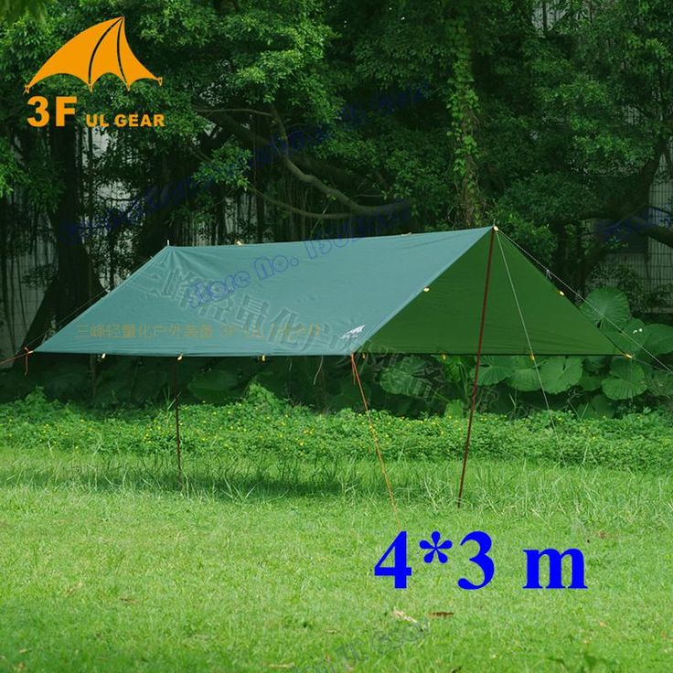 [Visit to Buy] Anti UV ultralight 3F UL Gear 4*3m 210T silver coating outdoor large tarp shelter high quality beach awning sun shelter tent  #Advertisement
