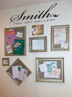 Create your own art gallery. Frames with cork board cut to size.