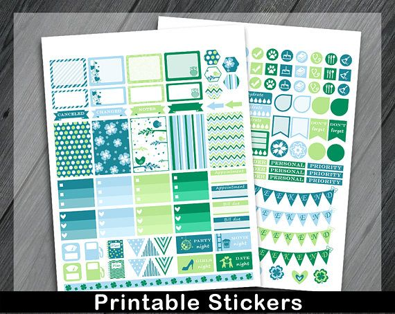 Green Planner Stickers Planner Accessories Kit Printable