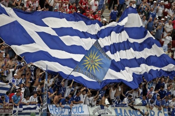 Greece shocked thousands of chanting fans this afternoon by scoring a goal in the waning moments of stoppage time right before halftime.